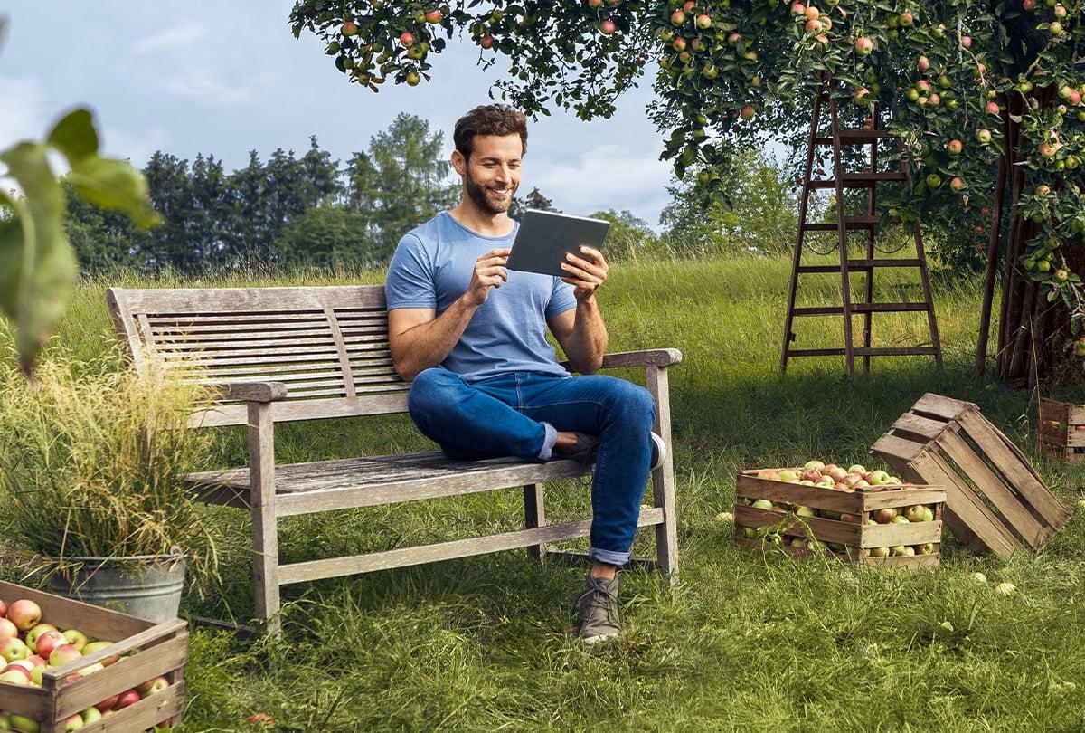 Mann mit Tablet auf Bank unter Apfelbaum